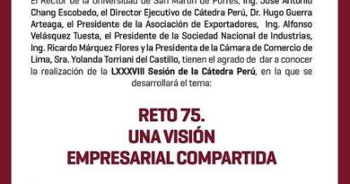 """Cátedra Perú: """"Reto75. Una visión empresarial compartida"""". Miércoles 5 de junio, 6:30 p.m."""